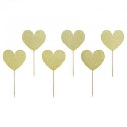 6 cupcakes toppers corações