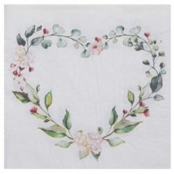 20 heart flowers napkin...
