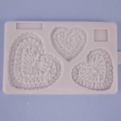 Molde Corações Crochet