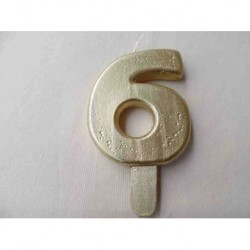 Vela N 6 9.5cm Dourado