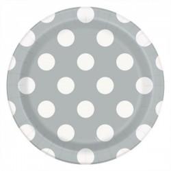 8 Pratos 17.1 cm bolas prata