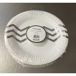 6 pratos branco e prata