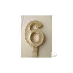 Vela Nº6 13cm Dourado