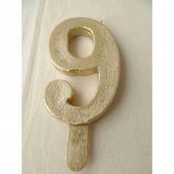 Vela Nº9 13cm Dourado