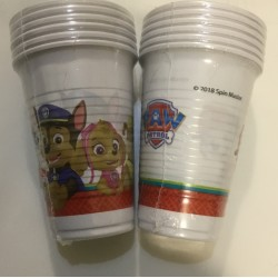 6 copos plástico Patrulha Pata