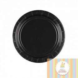 8 pratos pretos 17,8 cm