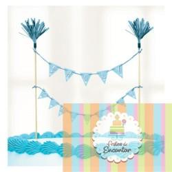 Decoração bolo Comunhão - Azul