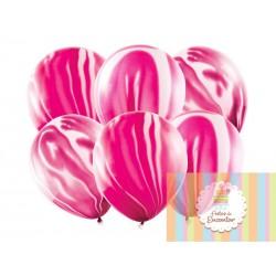6 Balões 30cm Marmoreados Rosa