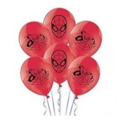 6 balões Latex Homem Aranha...