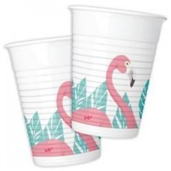 8 copos plástico flamingo
