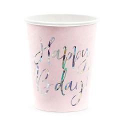 6 Copos Happy B'day, rosa...