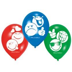6 Balões Latex Smiley World
