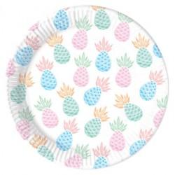 8 pratos 23 cm ananás