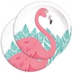 8 pratos 23 cm flamingo