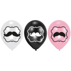 6 Balões Latex Moustache