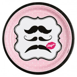 8 Pratos 23cm Moustache