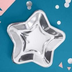 6 pratos estrela 23 cm prata