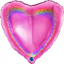 Coração Rosa Glitter...