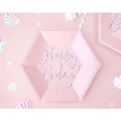 6 Pratos Happy B'day rosa,...