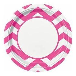 8 Pratos Chevron 22 cm rosa...