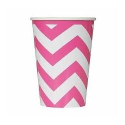 8 copos chevron  rosa/branco