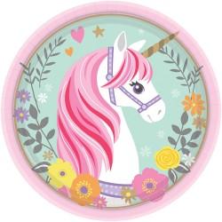 8 pratos 18 cm Magical Unicorn