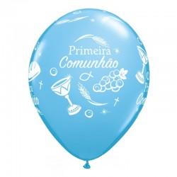 Balões Qualatex Comunhão Azul