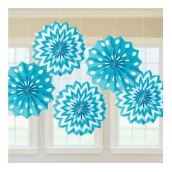 5 Decorações Paper Fan Azul...