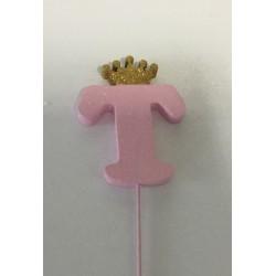 Letra T esferovite rosa 10...