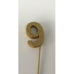 Número 9 esferovite ouro 8cm