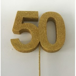 Número 50 eferovite 18cm ouro