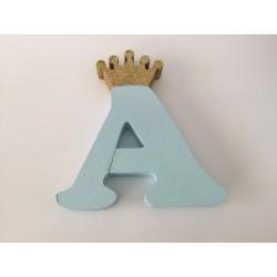 Letra A 18cm Azul com coroa...