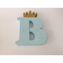Letra B 18 cm Azul com...