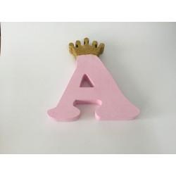 Letra A 18 cm Rosa com...