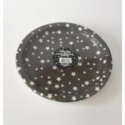 6 pratos cinza estrelas...