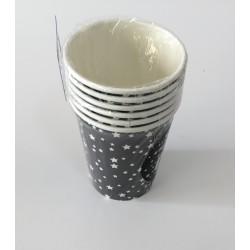 6 copos cinza estrelas brancas