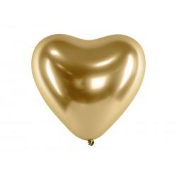 Balão látex coração dourado 12