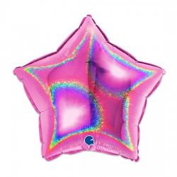 Balão Estrela Rosa Glitter...