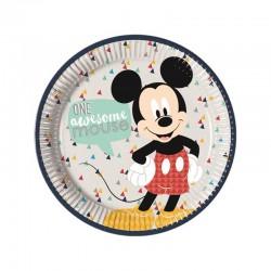 8 Pratos 23 cm Mickey Awesome