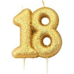 Vela Glitter 18 - ouro