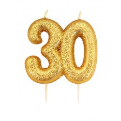 Vela Glitter 30 - Ouro