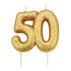 Vela Glitter 50 - ouro