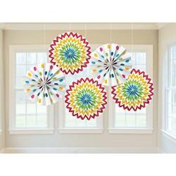 5 Decorações Paper Fan Rainbow
