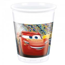 8 copos plástico cars