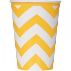 8 copos chevron amarelo/branco