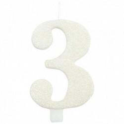 Vela Branca Glitter Nº 3