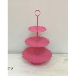 Estrutura 3 pratos rosa