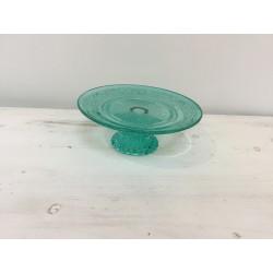 Prato pé vidro verde (aluguer)