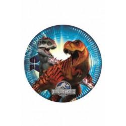 8 Pratos 23cm- Jurassic Worl