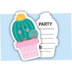 6 convites recortados cactus